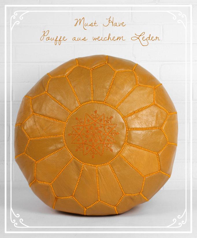 Boho Style - Leder Pouffes in vielen Farben