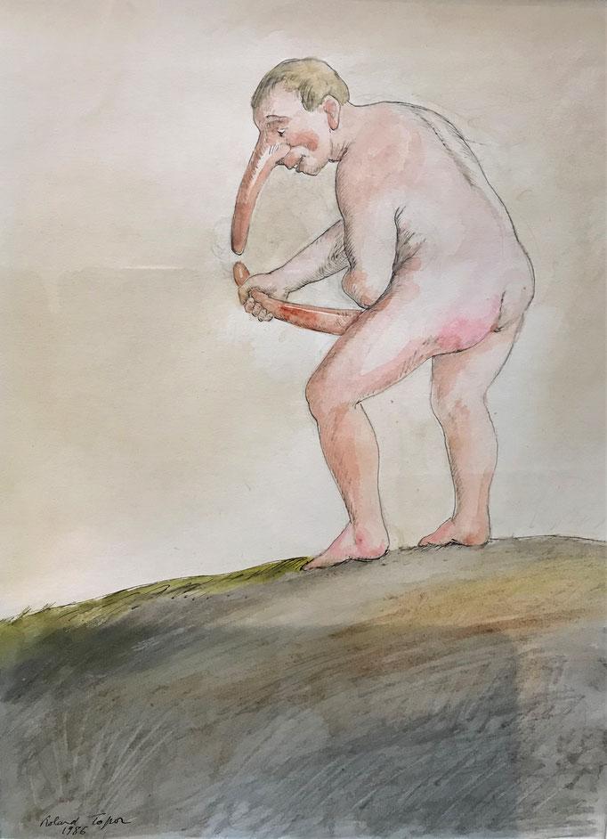 Roland Topor: *Arc de triomphe* (Triumphbogen), 1986, Farbige Zeichnung, 32 x 24 cm