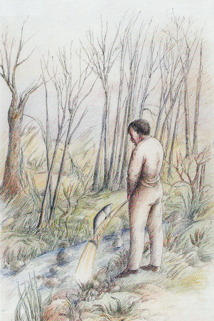 Roland Topor: *Gare au saumon*, 1978, Farbige Zeichnung, 49,7 x 32,7 cm