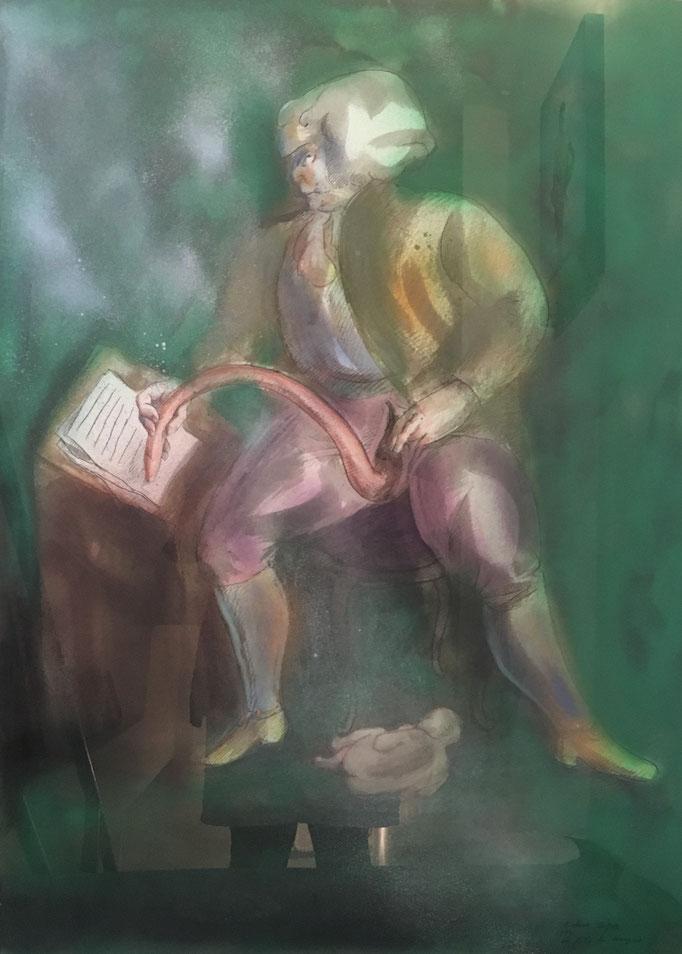 Roland Topor: *Le fils du Marquis* (Der Sohn des Marquis), 1984, Farbe, Spritzpistole, 75 x 57 cm (hinter Glas)