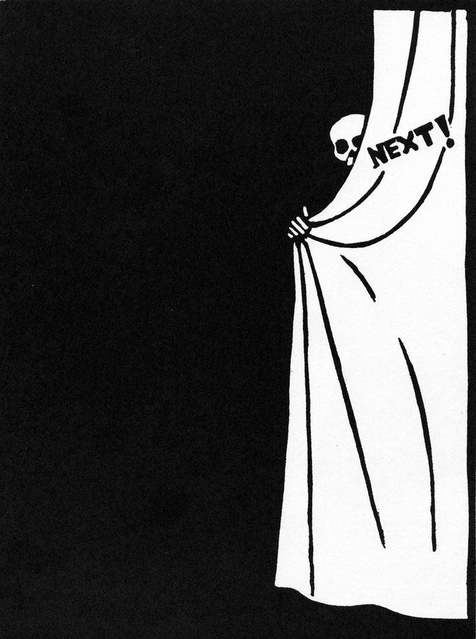 Roland Topor: *Next*, 1979, Linolschnitt, 48 x 28 cm