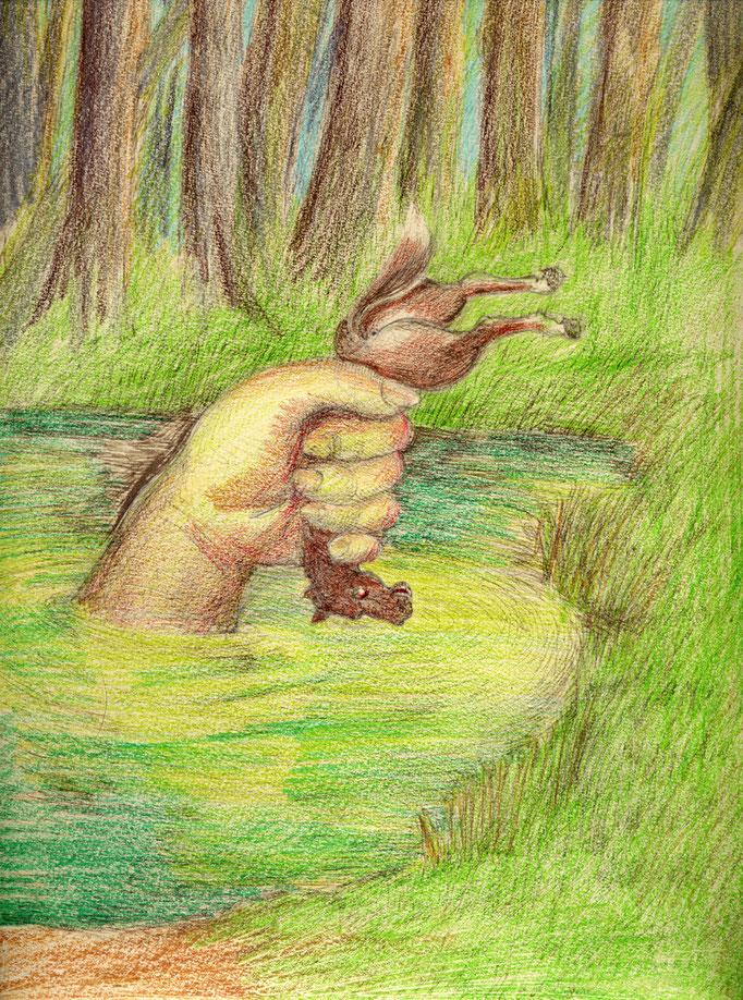 """Roland Topor: *Faustpfand* (Illustration zu """"Grindkopf"""" von Tankred Dorst), 1985, Farbige Zeichnung, 30,7 x 24 cm"""