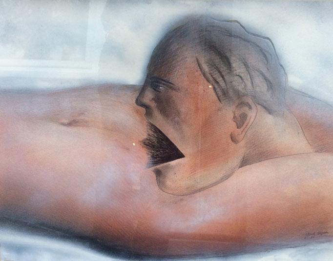 Roland Topor: *Bon appétit*, 1985, Mischtechnik (hinter Glas), 50 x 65 cm