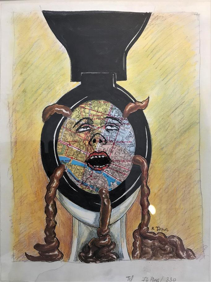 Roland Topor: *Paris sur merde*, 1986, Farbige Zeichnung, Mischtechnik, Collage, 24 x 32 cm