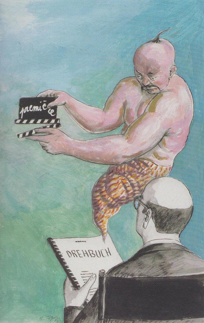 Roland Topor: *Scénario* (Drehbuch), 1994, Acryl, Öl, 50 x 32 cm