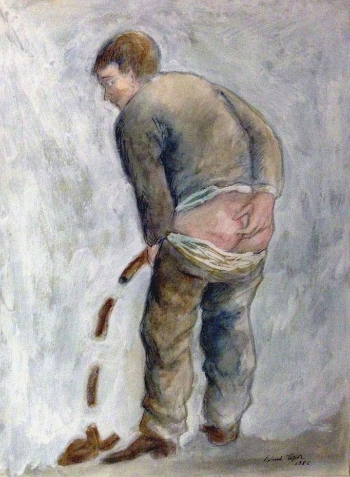 Roland Topor: *Déviation* (Umweg), 1986, Mischtechnik, 31,6 x 23,7 cm