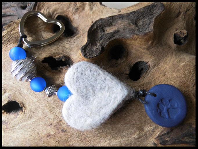 Bild 34: Fellperle in einem Perlenkäfig eingefasst mit einem Fellherz und blauen Polarisperlen angefertigt. Passend dazu ein blauer Fimoanhänger mit Pfotendruck. Preis: 36 Euro