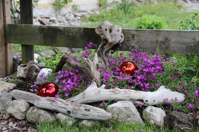 Blumenbeet mit Treibholzdeko