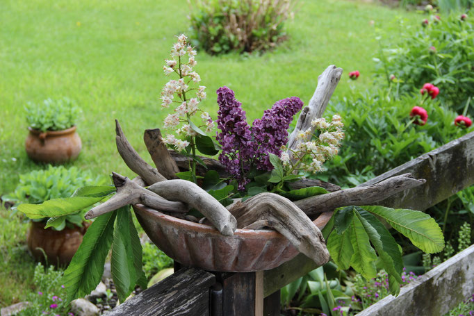 Schale mit Blüten und Treibholz