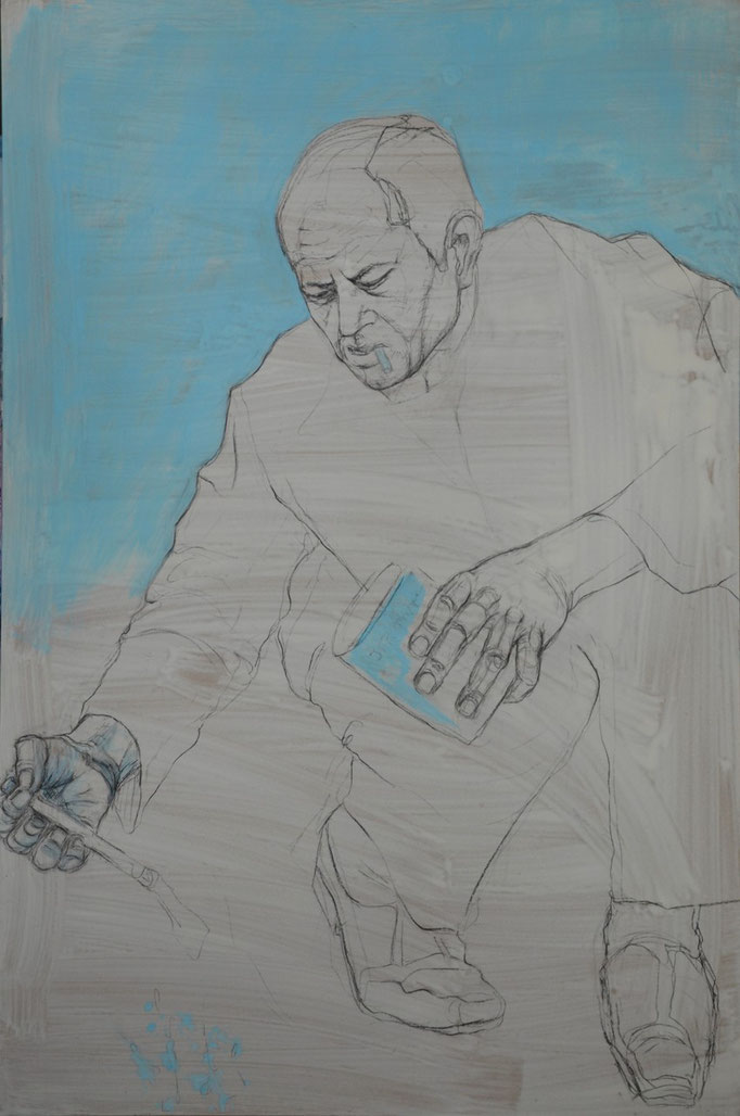 Painter 3, 120 x 80 cm, Kohle, Acryl auf MDF-Platte, 2012