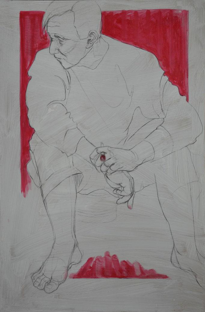 Painter 5, 120 x 80 cm, Kohle, Acryl auf MDF-Platte, 2013