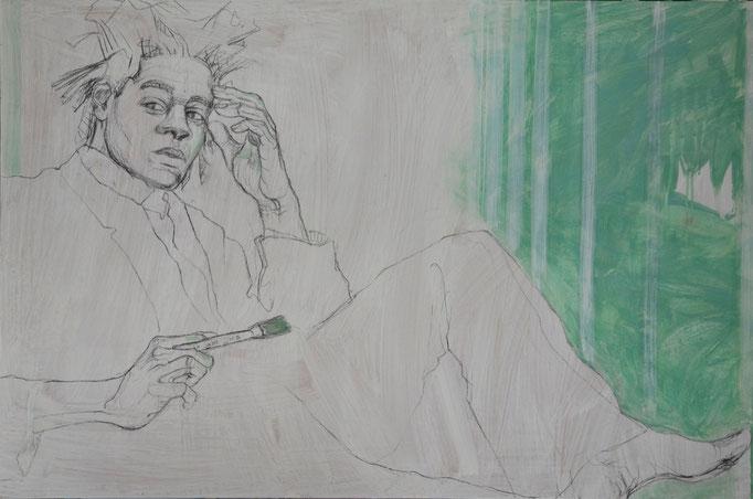 Painter 1, 80 x 120 cm, Kohle, Acryl auf MDF-Platte, 2012