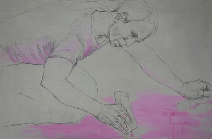 Painter 4, 80 x 120 cm, Kohle, Acryl auf MDF-Platte, 2013