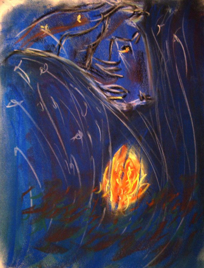 Eisiger Tiger, Pastelkreide auf Papier