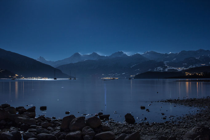 Eiger, Mönch und Jungfrau mit Schneefahnen die im Mondlicht leuchten   -N18-