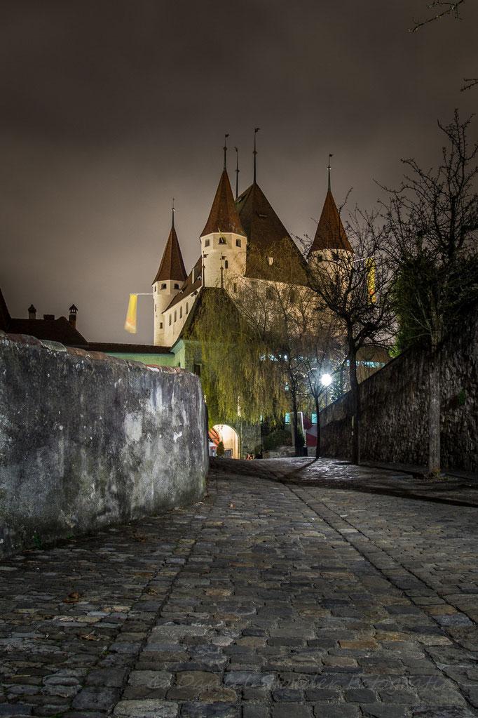 Schloss Thun in einer nebligen Nacht   -N13-