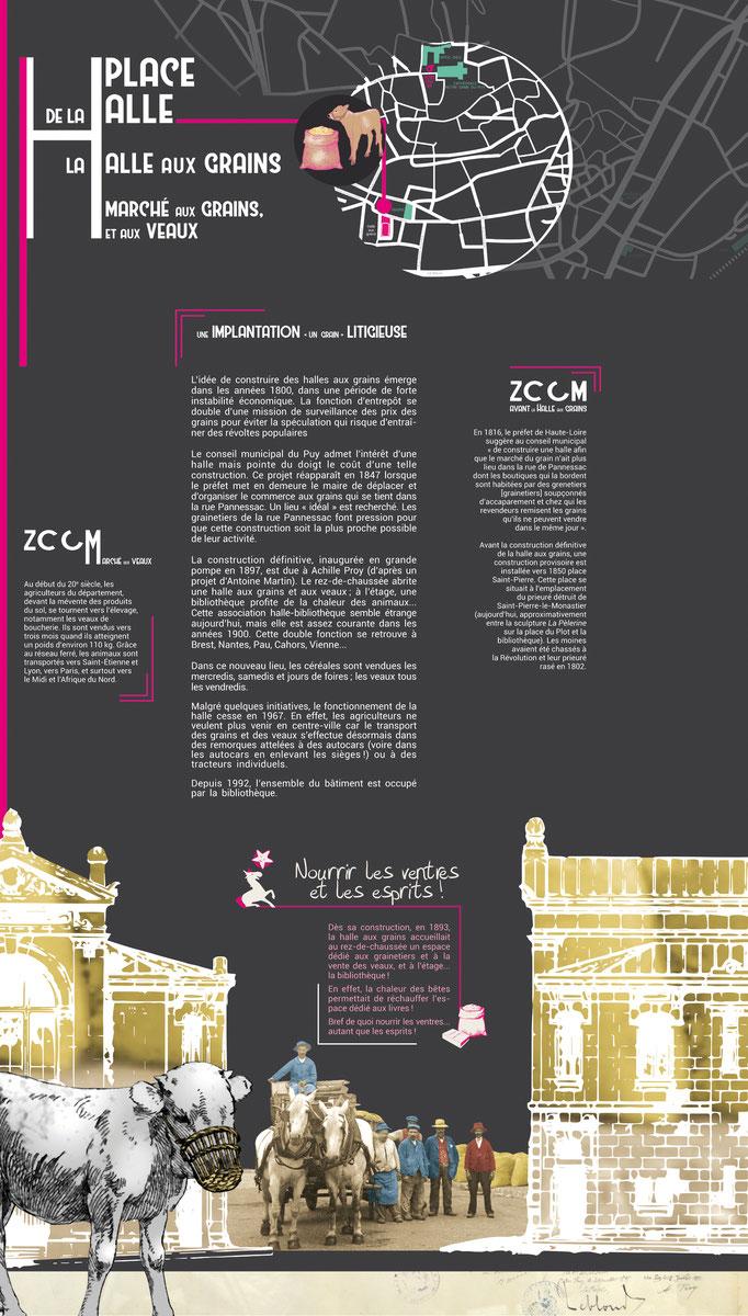 Texte de niveau 2 dédié à une place avec images d'archives, illustration, plan et pictogramme, 140x240 cm.