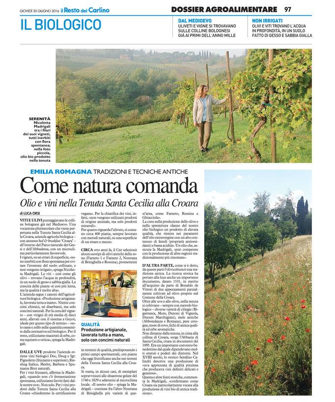 Il Resto del Carlino, Dossier Agroalimentare, giovedì 30 Giungo 2014