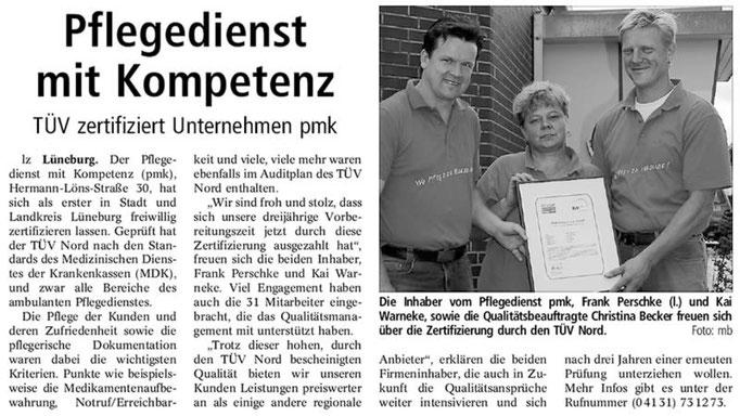 Lüneburger Landeszeitung vom 04.08.2006 - PMK Qualitätsmanagement