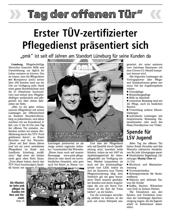 Lüneburger Landeszeitung vom 06.07.2006 - PMK Tag der offenen Tür