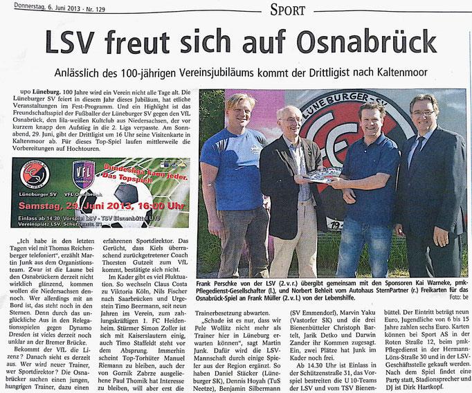 Lüneburger Landeszeitung vom 06.06.2013 - PMK LSV Lüneburg
