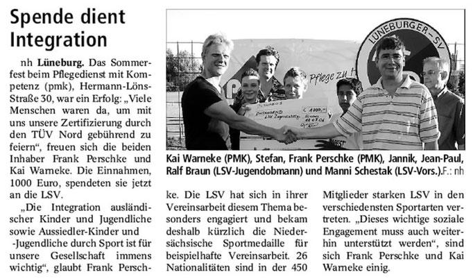 Lüneburger Landeszeitung vom 21.07.2006 - PMK Spende für Integration