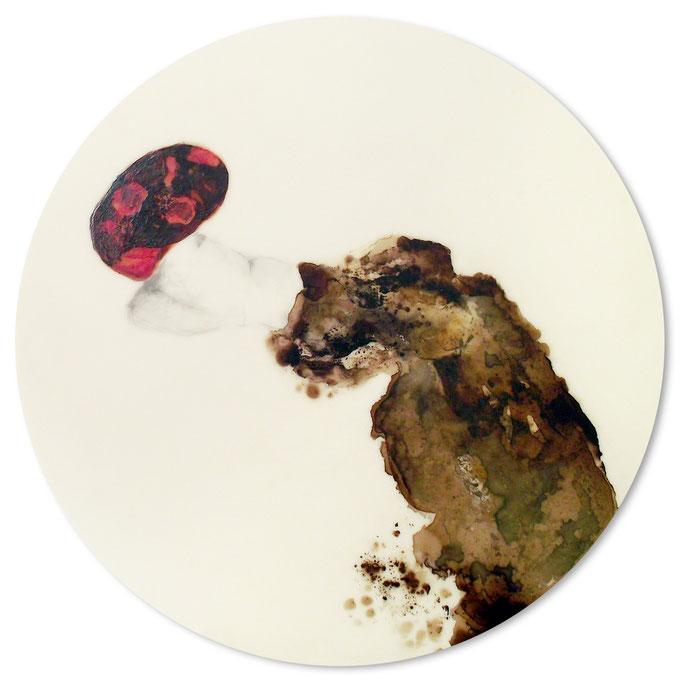 Fliegen oder Fallen - Lack, Bleistift auf Acryl - Durchmesser 47cm - 2013
