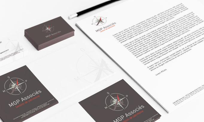 Création de l'Identité visuelle (logo, papeterie) MGP ASSOCIES