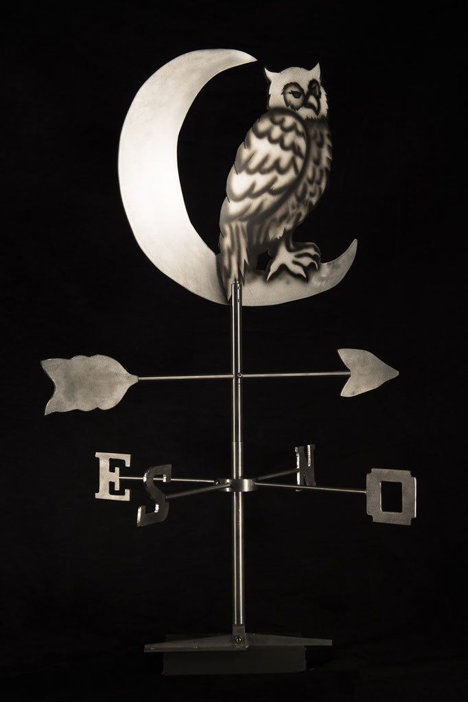 "Owl weathervane, 33"" height x 24"" x 24"", aluminium, 2010."