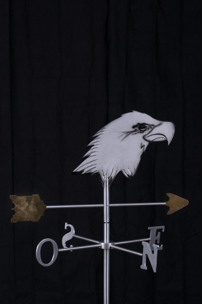 "Eagle Weathervane, 32"" height x 24"" x 24"", aluminium brass, 2007."