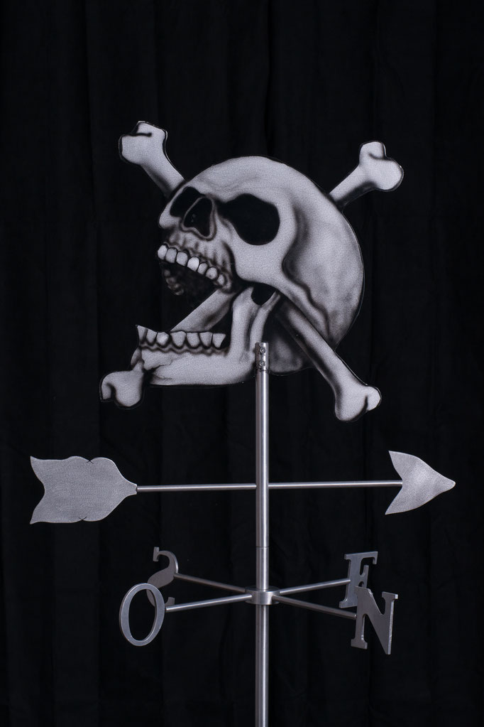 "Skull Weathervane, 32"" height x 24""x 24"", aluminium, 2010."