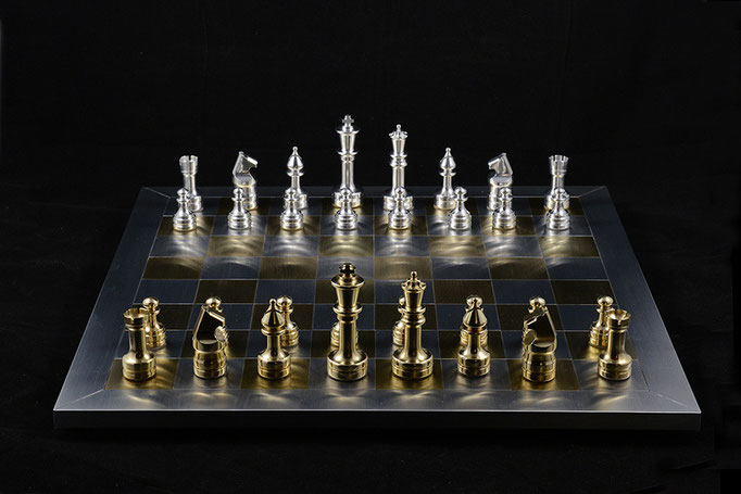 "Chess game, 18""x18""x 6"" height, aluminium brass, 2006."