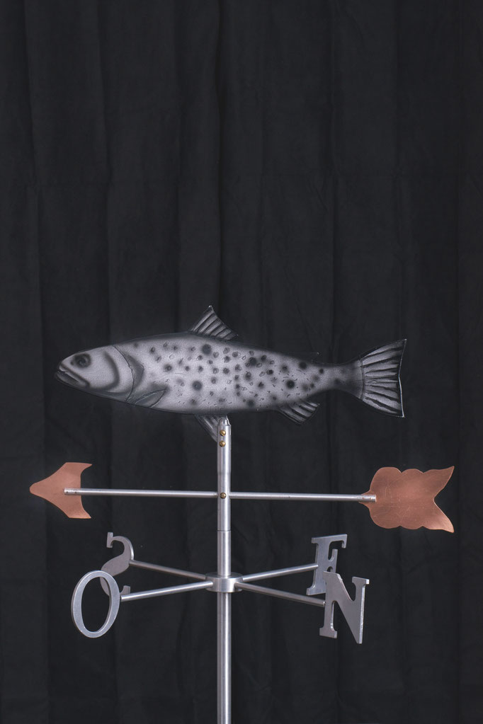 "Fish Weathervane, 32"" height x 24""x 24"", aluminium, 2010."