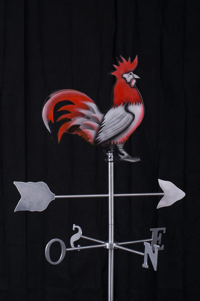 "Rooster weathervane, 32"" height x 24"" x 24"", aluminium, 2014."