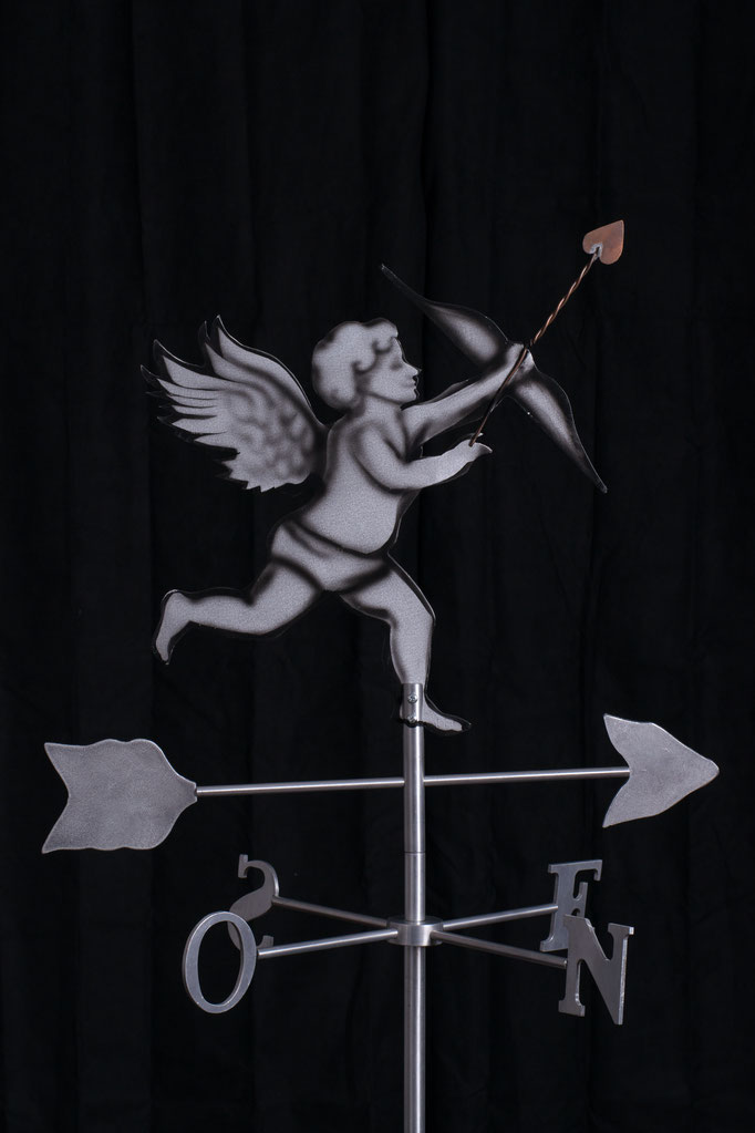 "Cupid Weathervane, 32"" height x 24"" x 24"", aluminium, 2007."