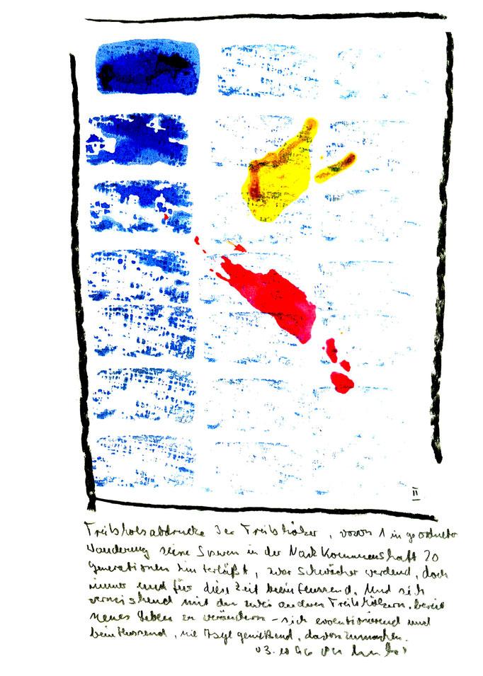 """""""Treibholzabdrucke II"""", Werkverzeichnis 1.030, datiert 03.10.1996, Kohle und farbige Treibholzabdrucke auf Aquarellpappe. Maße 21,0 cm * 29,7 cm"""