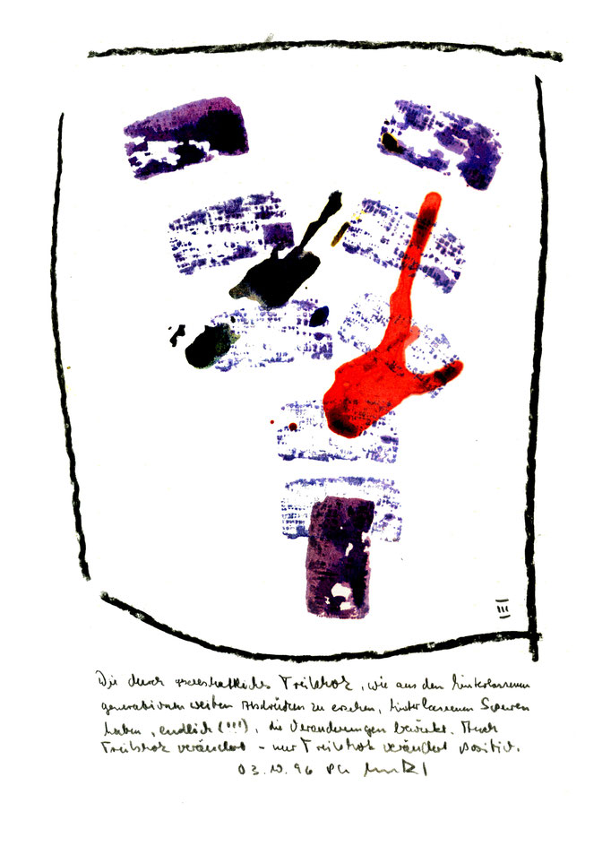 """""""Treibholzabdrucke III"""", Werkverzeichnis 1.031, datiert 03.10.1996, Kohle und farbige Treibholzabdrucke auf Aquarellpappe. Maße 21,0 cm * 29,7 cm"""