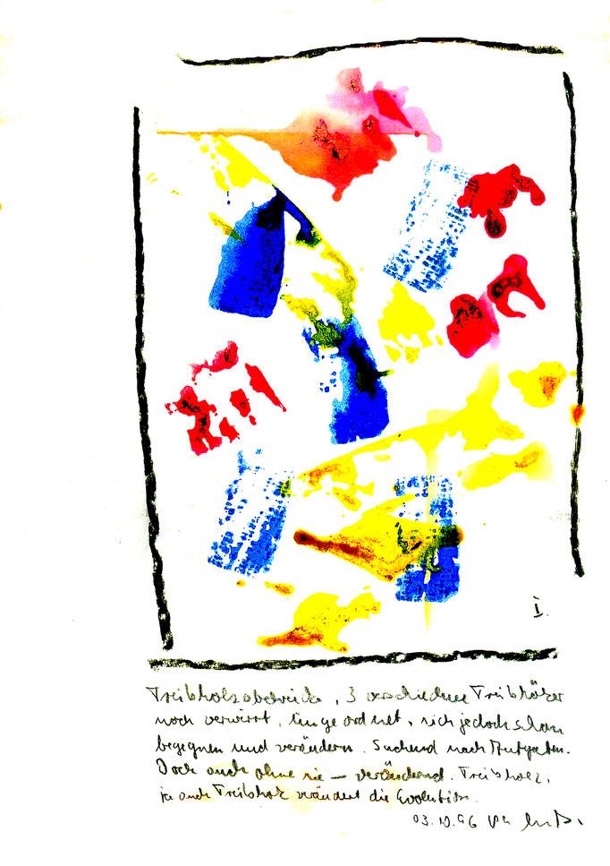 """""""Treibholzabdrucke I"""", Werkverzeichnis 1.029, datiert 03.10.1996, Kohle und farbige Treibholzabdrucke auf Aquarellpappe. Maße 21,0 cm * 29,7 cm"""