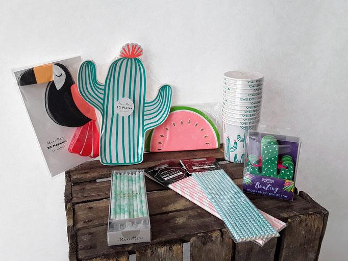 Kaktus und Tukan. Tolle Teller in Kaktusform und viel Besonderes. Partydekoration und Partyequipment.