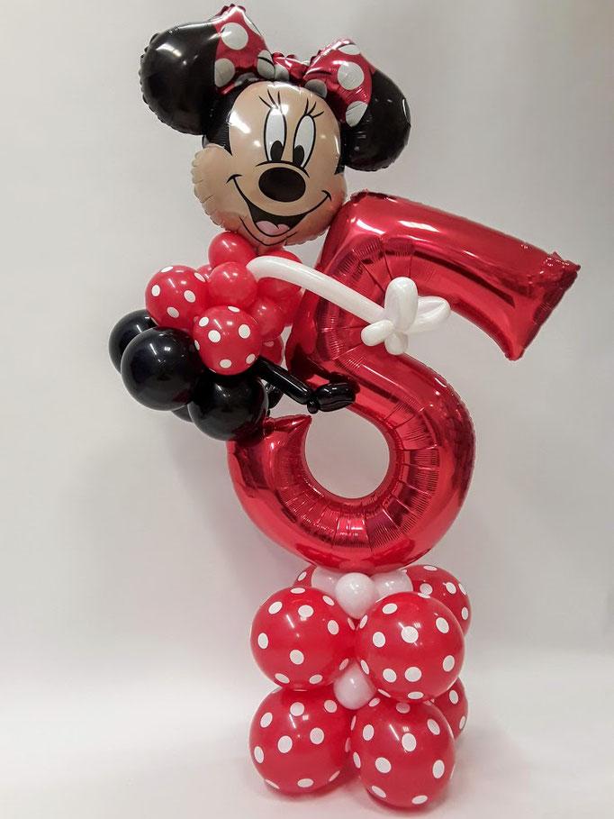 Süßes Minnie Maus Ballonzahlenbouquet zum 5. Geburtstag. Wählen Sie Ihre Wunschzahl für dieses Arrangement und sichern Sie sich strahlende Kinderaugen.