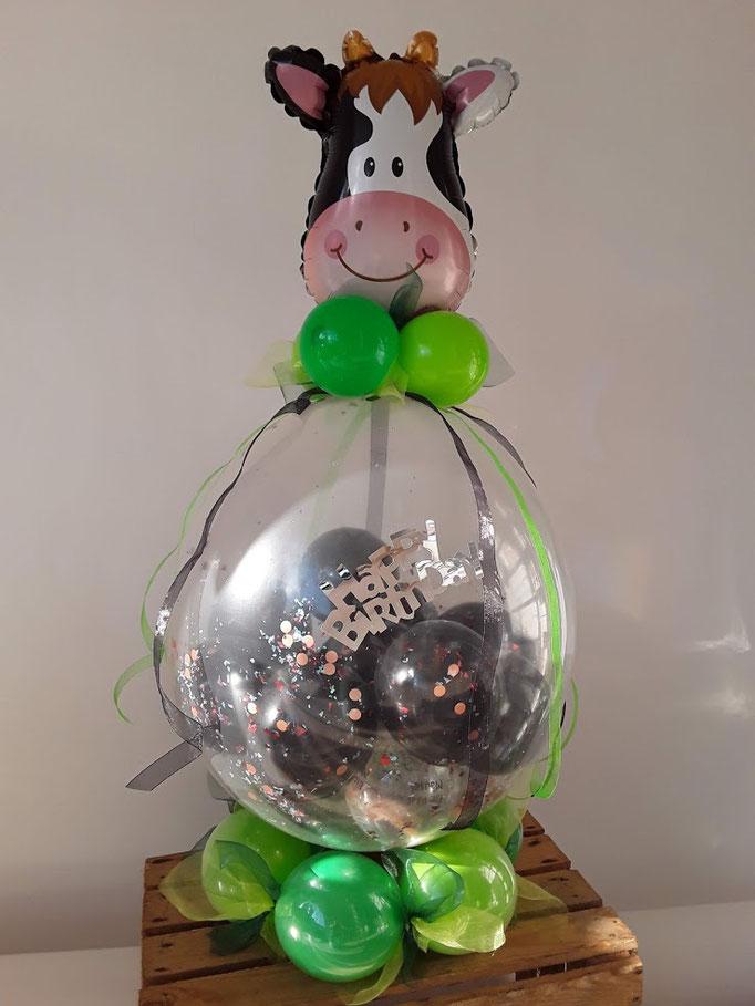Ein tierischer Verpackungsballon für alle Kuhfreunde. Zaubert nicht nur Landwirten ein Lächeln ins Gesicht. :-)