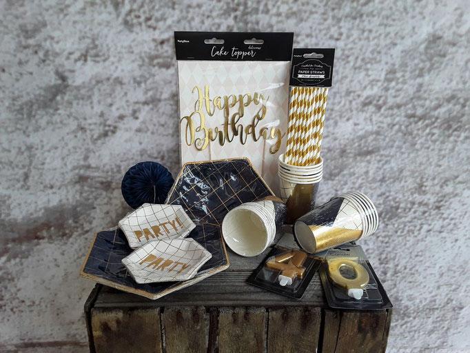 Happy Birthday in schwarz gold. Partyartikel und Partyequipment für Geburtstag, auch zu Sylvester geeignet.