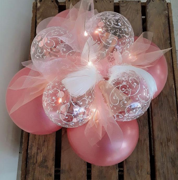 Ballonfuß für eine Bubble Dekoration. Kann mit Geldkugeln (mit Geld gefüllte Ballons) als Geldgeschenk genutzt werden.