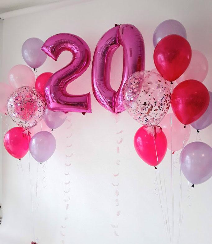 Ein Traum in Pink zum 20. Geburtstag. Folienballonzahlen, besonders lange schwebende Latexballons und Glitzerballons. In pink, blau, silber, gold, schwarz, rose gold...