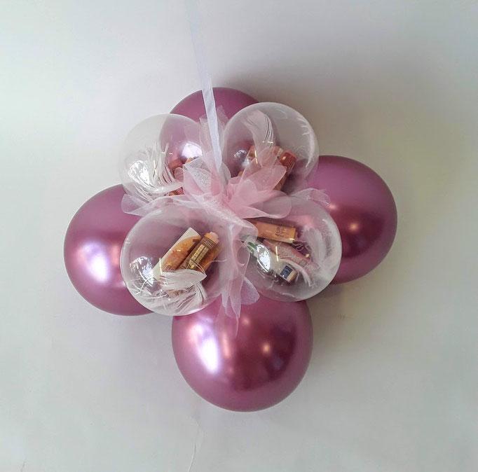 Ballonfuß mit Geldkugeln für schwebende Heliumballons. Besonders edel: chrome Ballons.