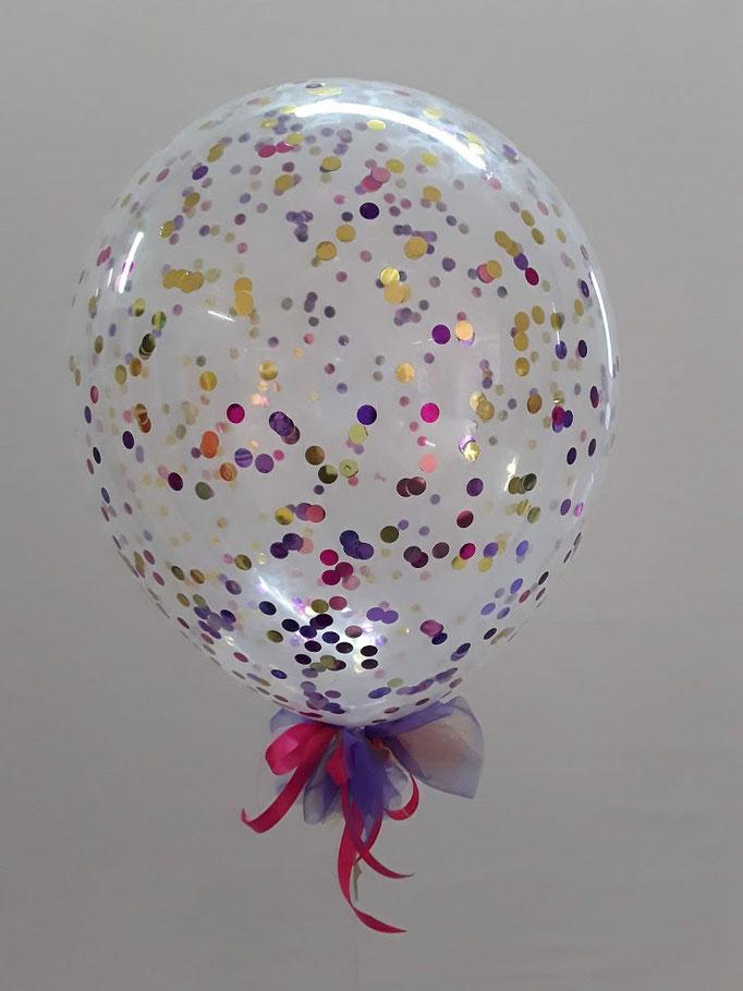 Glitzer Luftballon mit Schleife. Die Farben von Konfetti und Schleife sind individuell bestimmbar.