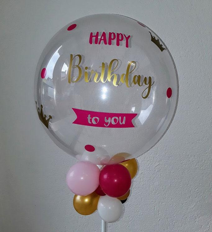 Individuell gestalteter Bubble. Kundenaufdruck aus Folienplott. Schriftart und Text wird als Unikat nach Ihrem Wunsch gefertigt. Bitte mindestens 3 Tage vorbestellen.