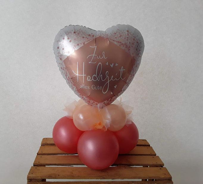 Luftgefülltes Tischbouquet mit Folienballon. Farben und Motive werden individuell mit Ihnen zusammengestellt.
