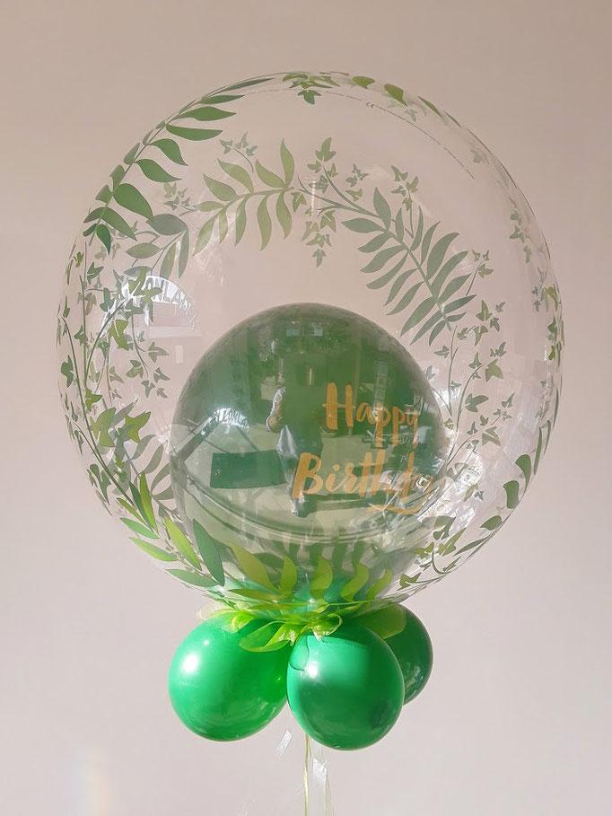 Happy Birthday Bubble im grünen Stil mit tollem Blätteraufdruck. Super kombinierbar mit den Blätter-Folienballons.