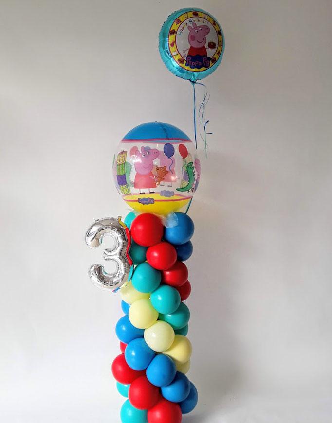 Peppa Pig Säule zum dritten Geburtstag. Süß mit Heliumballon. Raumdeko mit Wow Effekt.